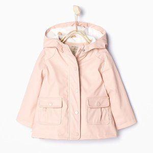 Zara Baby Pink Lined Rubberized Raincoat